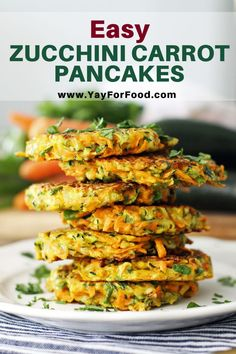 Easy Zucchini Carrot Pancakes Crispy and pan-fried on the outside with soft, vegetable-filled insides! These Zucchini Carrot Pancakes are a tasty and colourful dish that can be served for or as a Side Dish Recipes, Vegetable Recipes, Beef Recipes, Vegetarian Recipes, Cooking Recipes, Healthy Recipes, Kitchen Recipes, Snacks Recipes, Kitchen Hacks