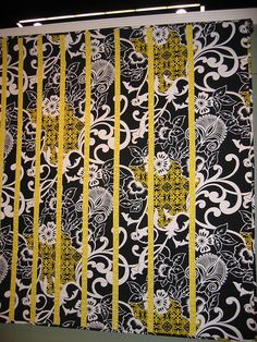 black white and yellow quilt