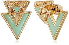 French Connection Mini Enamel Gold Stud Earrings