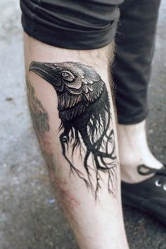 Bird Men Leg Tattoos