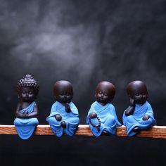 Small Buddha Statue Statuette Yoga Tea Car Home Decor Ceramic Handicraft Monk