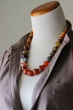 Short fall choker necklace chunky agate by StarsonMarsJewelryCo