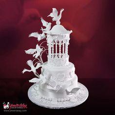 Gazebo & Doves Wedding Cake - Cake by Yeners Way - Cake Art Tutorials - CakesDecor White Wedding Cakes, Elegant Wedding Cakes, Beautiful Wedding Cakes, Gorgeous Cakes, Pretty Cakes, Royal Icing Cakes, Fondant Cakes, Cupcake Cakes, Wedding Doves