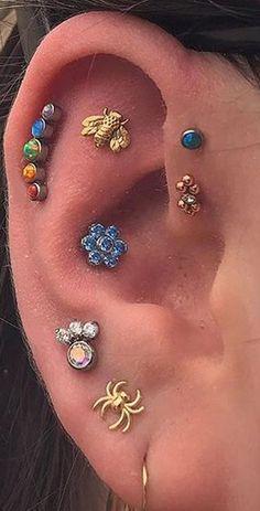 Bijoux Piercing Septum, 2nd Ear Piercing, Pretty Ear Piercings, Multiple Ear Piercings, Piercing Tattoo, Lip Piercing Stud, Flat Piercing, Different Ear Piercings, Ear Jewelry