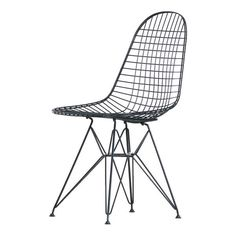 Vitra Charles & Ray Eames DKR Wire Chair - Basic Dark Powder-Coated (2.055 BRL) ❤ liked on Polyvore featuring home, furniture, chairs, grey, outside furniture, gray chair, outdoors furniture, grey outdoor chairs and gray furniture