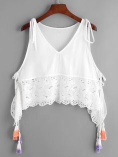 SheIn offers Tassel Tied Eyelet Embroidered Trim Tank Top & more to fit your fashionable needs. Dress Outfits, Girl Outfits, Casual Outfits, Cute Outfits, Fashion Outfits, Diy Clothes Tops, Clothes For Women, Cute Fashion, Boho Fashion