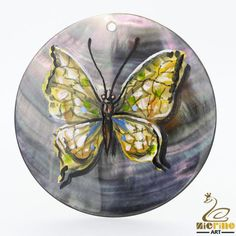 Hand Painted Necklace Butterfly Pendant Natural Black Lip Shell Multi Color #ZL #Pendant