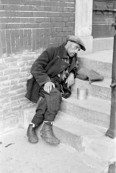 A starving Dutch civilian during the Hongerwinter. The famine began during the winter of 1944-1945 after the national railways complied with the exiled Dutch government's appeal for a railway strike starting Sept 1944 to further the Allied liberation efforts. The German administration retaliated by placing an embargo on all food transports to the western Netherlands. Some 4.5 million Dutch citizens were affected, about 22,000 died as a direct result of the famine.