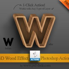 3D Wood Style Photoshop Action