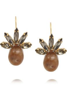 Marni Gold-plated, Swarovski crystal and horn earrings | NET-A-PORTER