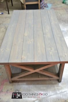 DIY Rustic X Coffee Table Want to convert to ottoman. X Coffee Table, Rustic Coffee Tables, Coffee Table Design, Rustic Furniture, Home Furniture, Business Furniture, Outdoor Furniture, Garden Furniture, Home Design