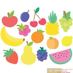 Fruits - Clipart & Vector Set - Instant Download - Personal and Commercial Use: