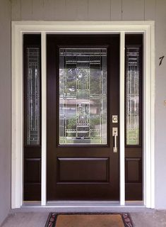 """""""We've gotten compliments on it since putting it in. It's a good improvement."""" shared Sara P. about her new Feather River Door's Preston entry door in Chestnut Mahogany. Black Entry Doors, Entry Door With Sidelights, Front Door Entrance, Exterior Front Doors, House Front Door, Glass Front Door, Patio Doors, Front Entrances, Front Entry"""