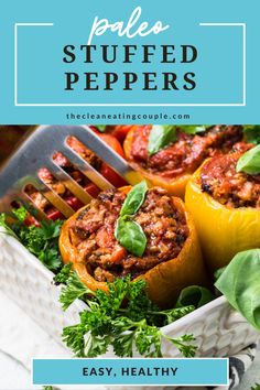 Paleo Stuffed Peppers are an easy Italian dinner. These paleo stuffed peppers are healthy, gluten free + dairy free and can be made in the instant pot, slow cooker or oven. I use cauliflower rice and you'd never know - but you can use regular rice too! Delicious with ground beef, turkey, or even ground chicken! #paleo #whole30 #lowcarb #healthy Easy Whole 30 Recipes, Easy Clean Eating Recipes, Clean Eating Diet, Easy Healthy Dinners, Healthy Turkey Recipes, Healthy Gluten Free Recipes, Whole30 Recipes, Lunch Recipes, Easy Meal Prep