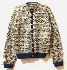 Men's s Wool Sweater Cardigan Blue White Snowflake Norwegian Handicraft Assoc | eBay