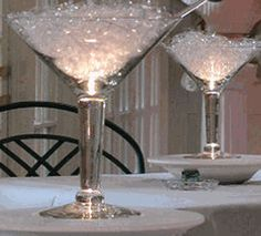 """EVENT PLANNING - Grande Martini Centerpiece Glasses 10"""" tall 48 ounce $12"""