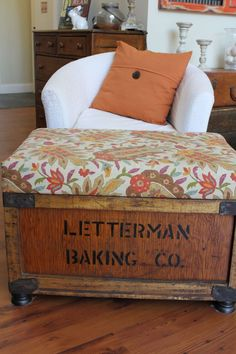 Creating an Ottoman From an Old Crate