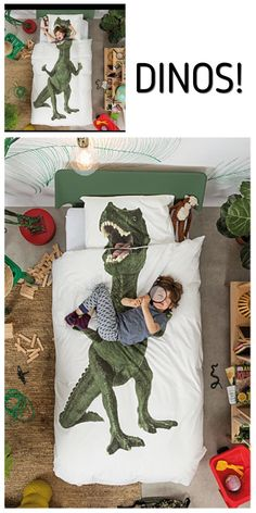 Dino's! This is AWESOME! There is something about dinosaurs that draws kids to them - and those who love dinosaurs will love this!  My boys were all about anything Dino. Now the grandkids are walking that path. What a great Christmas gift.  #dinasaur #bedroom #duvet  #pillows #homedecor #kids #gifts #boys #ad