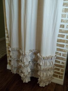 Tattered Ruffles Curtain Panel in Flax Washed Cotton via Etsy, another idea I might be able to tackle for our master. Nursery Curtains, Nursery Room, Girl Nursery, Girl Room, Baby Room, Ruffle Curtains, Burlap Curtains, Panel Curtains, Woman Cave