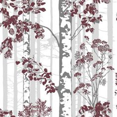 Horisontti x Floral and Botanical Wallpaper Roll Vallila Colour: Red Silver Birch Wallpaper, Embossed Wallpaper, Red Wallpaper, Wallpaper Panels, Pattern Wallpaper, Florence, Buy Wallpaper Online, Snow Covered Trees, Botanical Wallpaper