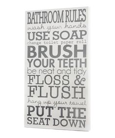 Take a look at this White Bathroom Rules Wall Art by Twelve Timbers on #zulily today!