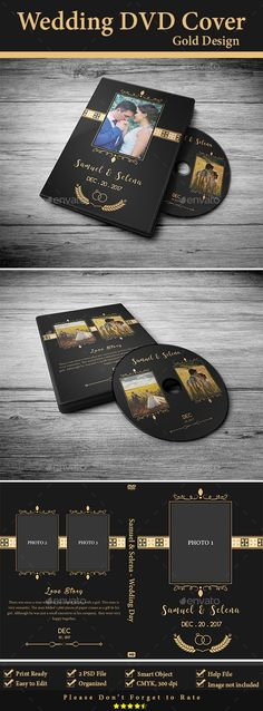 Wedding DVD Cover - Gold Design - #CD & DVD Artwork Print Templates Download here: https://graphicriver.net/item/wedding-dvd-cover-gold-design/20006179?ref=alena994