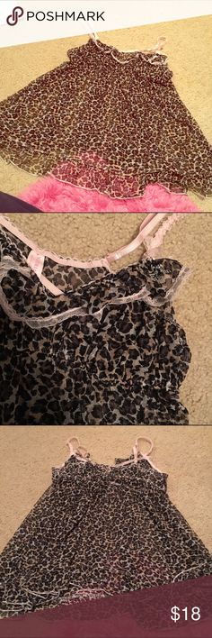 Euc L vs babydoll Mesh leopard with sweetheart neckline and ruffles. Adjustable straps and rhinestone details very cute! Euc no flaws, worn a handful of times Victoria's Secret Intimates & Sleepwear Chemises & Slips