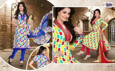 the two multi color fabulous designs in two combinations of blue and red color.