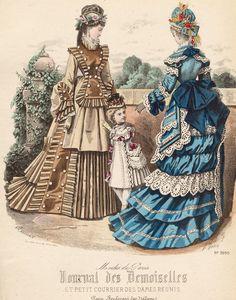 oldrags:  August fashions, 1874 France, Journal des Demoiselles et Petit Courrier des Dames Réunis