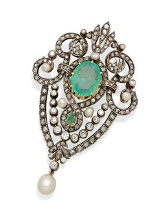 An emerald, diamond, cultured pearl and silver-topped gold brooch Emerald Jewelry, Pearl Jewelry, Antique Jewelry, Jewelery, Vintage Jewelry, Gemstone Brooch, Diamond Brooch, Emerald Diamond, Gold Brooches