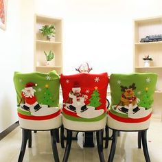 Christmas Santa Hat Chair Back Cover Snowman Elk Dinner Table Party Home Decor