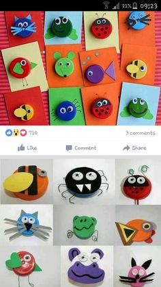 Art For Kids, Crafts For Kids, Arts And Crafts, Paper Crafts, Bottle Cap Projects, Bottle Cap Crafts, Plastic Bottle Caps, Bottle Cap Art, Infant Activities