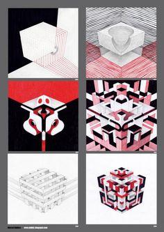 Marcel Bakker - Inner Cubes - abstract sketches grid