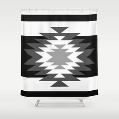 Aztec - black and white Shower Curtain
