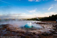 Geyser Strokkur in Iceland about to erupt