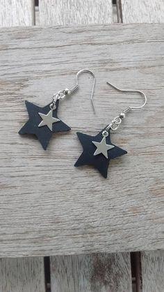 Boucles d'oreille étoile en chambre à air recyclée et