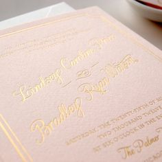 Metallic Gold Foil Letterpress Wedding Invitation on Pink Paper -- Sample -- Lindsey (FREE SHIPPING). $8.50, via Etsy.