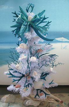 Seashell Coral Coastal Christmas Tree in a Whelk Shell by CeShoreTreasures