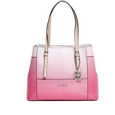 GUESS Delaney Ombre Shopper Tote ($74) ❤ liked on Polyvore featuring bags, handbags, tote bags, passion, ombre handbag, shopper tote handbags, pink tote bag, shopper handbags and pink shopping bag