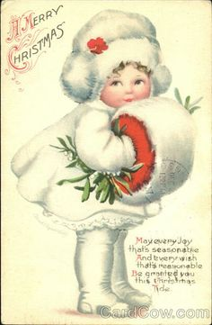 Clapsaddle christmas post card-1917 I have a few of her postcards,  very special this one is darling.