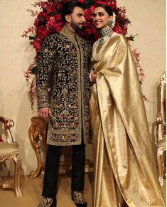 Deepika Padukone styled by Sabyasachi for her wedding reception in Bengaluru. Deepika is wearing a saree gifted to her by her mother- Mrs Ujjala Padukone (from Ranveer Singh looks dapper in Rohit Bal Image Courtesy: Hair by: Makeup by: Sherwani Groom, Wedding Sherwani, Bollywood Wedding, Saree Wedding, Bridal Sarees, Reception Sarees, Wedding Reception, Wedding Ideas, Indian Reception