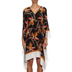 Fendi Birds of paradise-print silk-georgette kaftan (23,995 HNL) ❤ liked on Polyvore featuring tops, tunics, print tunic, caftan tunic, kaftan tunic, caftan top and pattern tops