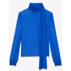 Saint Laurent Blouse With A Lavallière Collar And Oversized Sleeves... ($1,610) ❤ liked on Polyvore featuring tops, blouses, long sleeve blouse, sleeve blouse, transparent blouse, sheer sleeve blouse and blue blouse