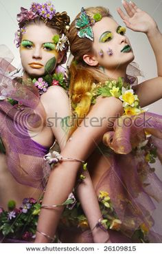 Portrait of two beautiful fashion models wearing costumes made of flowers. by Yaromir, via ShutterStock Flower Costume, Art Costume, Costume Makeup, Costume Ideas, Curling Iron Hairstyles, Cool Hairstyles, Best Hair Curler, Halloween Party, Halloween Costumes