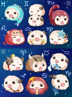 League of legends:Poro Zodiac Signs Animals, Zodiac Signs Chart, Zodiac Signs Astrology, Zodiac Star Signs, Astrology Numerology, Chinese Zodiac Signs, Zodiac Horoscope, Cute Animal Drawings, Kawaii Drawings