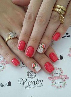 45 Fotos de Unhas decoradas com flores – Passo a passo Pink Nail Designs, Nail Designs Spring, Cute Pink Nails, Love Nails, The Art Of Nails, Hair Skin Nails, Manicure And Pedicure, Spring Nails, Nail Colors