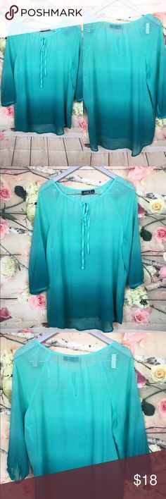 """A.N.A. Women Blue Ombré 3/4 Sleeve Blouse Sz PXL ❤️NEW WITHOUT TAG ❤️A.N.A. Aqua blue Ombré Sheers 3/4 Sleeve Pull Over Blouse Size Petite XL Bust: 23"""" Length: 25"""" a.n.a Tops Blouses"""