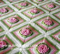 Crochet Pattern Baby Blanket Rug with Chrysanthemum Flowers ~ inspiration via Etsy.