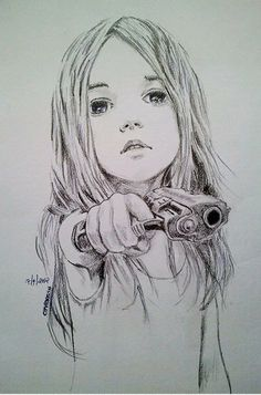 little girl gun sketch
