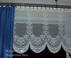 Kitchen Curtains, Valance Curtains, Cross Stitch Bookmarks, Point Lace, Window Treatments, Crafts, Home Decor, Crocheted Flowers, Crochet Curtains